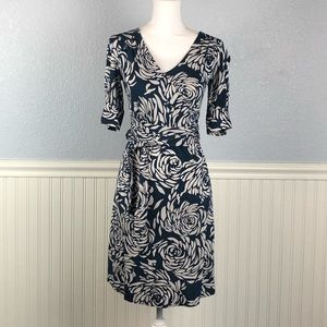 Banana Republic teal silk blend floral wrap dress